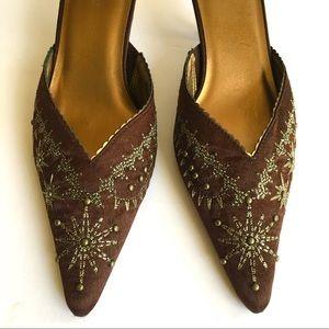 "Brown Embroidered Satin Mules 2"" Kitten Heels"
